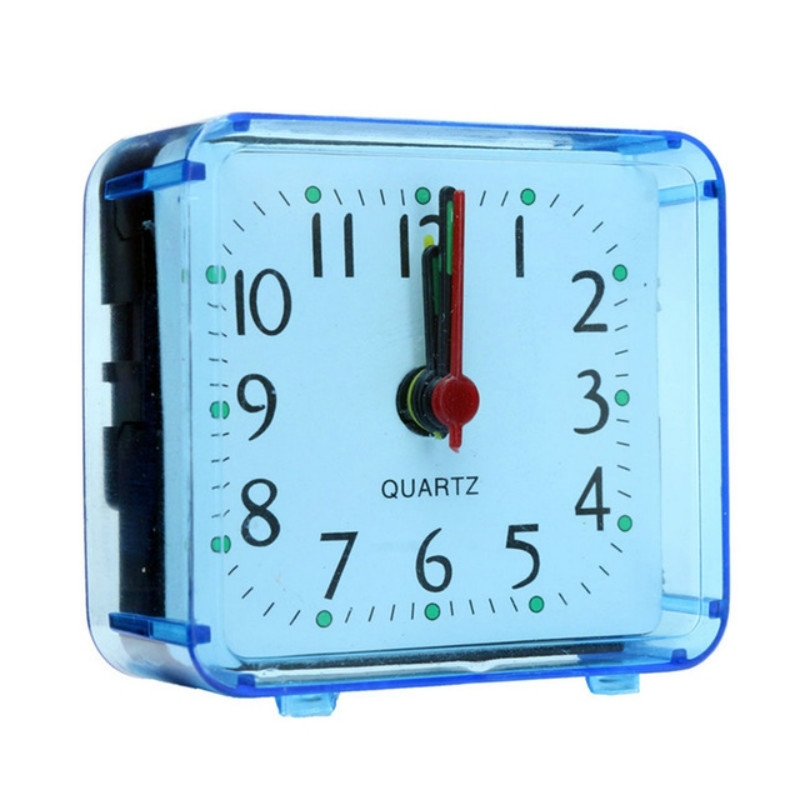 Vierkante wekker transparante behuizing compacte digitale mini slaapkamer nachtkastje kantoor elektronische klok (blauw)