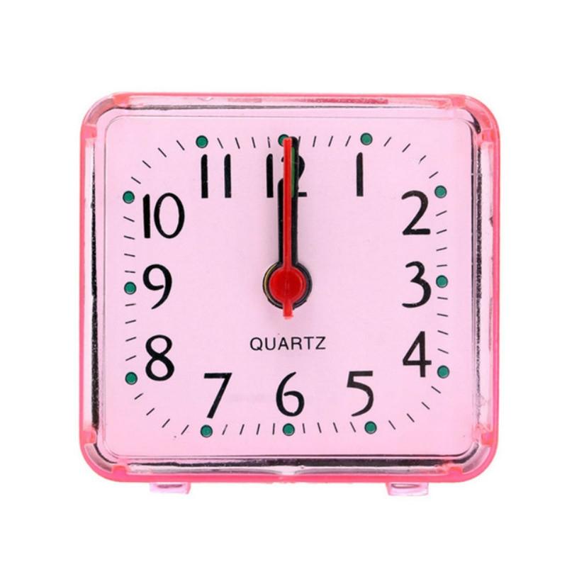 Vierkante wekker transparante behuizing compacte digitale mini slaapkamer nachtkastje kantoor elektronische klok (roze)