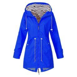 Dames waterdichte regenjas Hooded regenjas, maat: L (blauw)