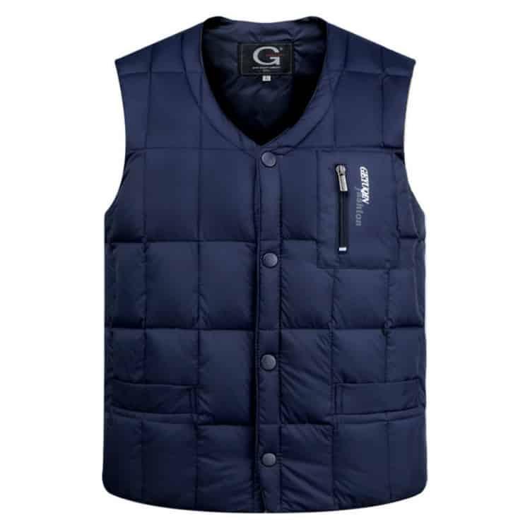 White Duck Down Jacket Vest Heren Middelbare leeftijd Herfst Winter Warme mouwloze jas, maat: L (blauw)