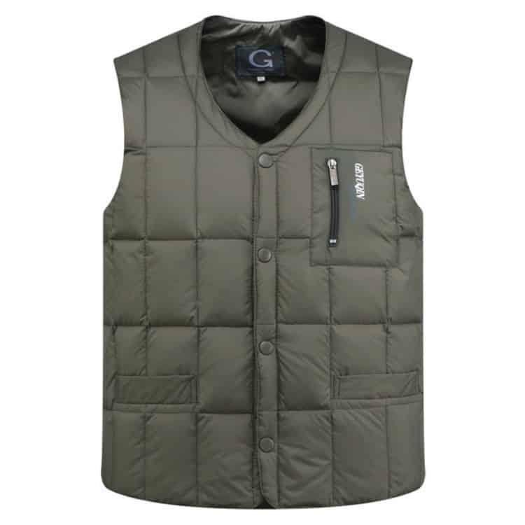 White Duck Down Jacket Vest Heren Middelbare Leeftijd Herfst Winter Warme Mouwloze Jas, Maat: XXL (Groen)