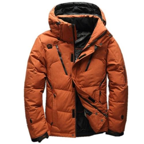 White Duck men coat male Clothing winter Down Jacket Outerwear, Size:L(Orange)