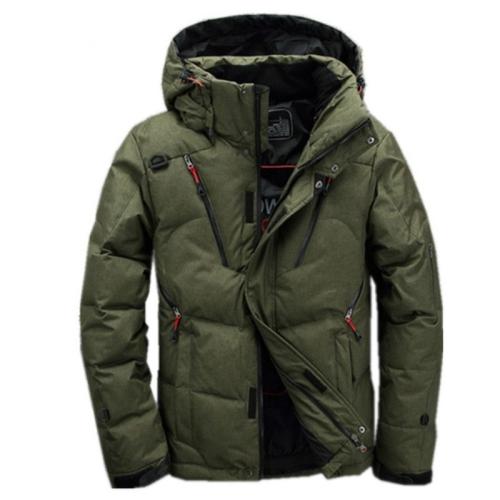White Duck men coat male Clothing winter Down Jacket Outerwear, Size:XXXXL(Green)