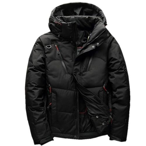 White Duck men coat male Clothing winter Down Jacket Outerwear, Size:XXXXL(Black)
