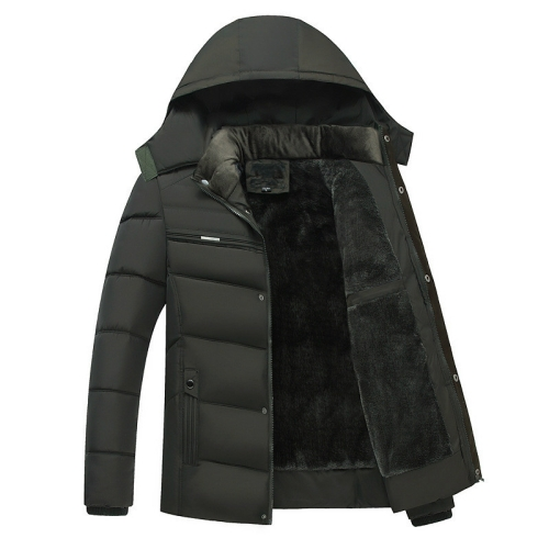 Men Winter Thick Fleece Down Jacket Hooded Coats Casual Thick Down Parka Male Slim Casual Cotton-Padded Coats, Size: XL(Army Green)