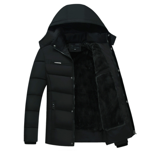Men Winter Thick Fleece Down Jacket Hooded Coats Casual Thick Down Parka Male Slim Casual Cotton-Padded Coats, Size: XXXL(Black)