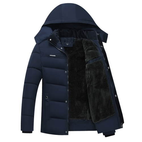 Men Winter Thick Fleece Down Jacket Hooded Coats Casual Thick Down Parka Male Slim Casual Cotton-Padded Coats, Size: XXXL(Navy Blue)