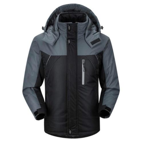 Men Winter Thick Fleece Waterproof Outwear Down Jackets Coats, Size: L(Black)