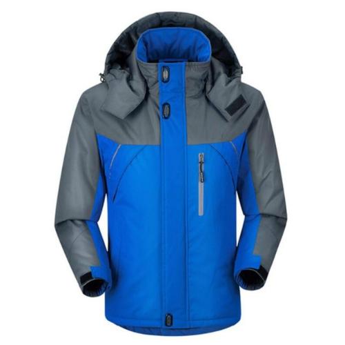Men Winter Thick Fleece Waterproof Outwear Down Jackets Coats, Size: XXL(Blue)