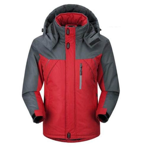 Men Winter Thick Fleece Waterproof Outwear Down Jackets Coats, Size: XXXL(Red)