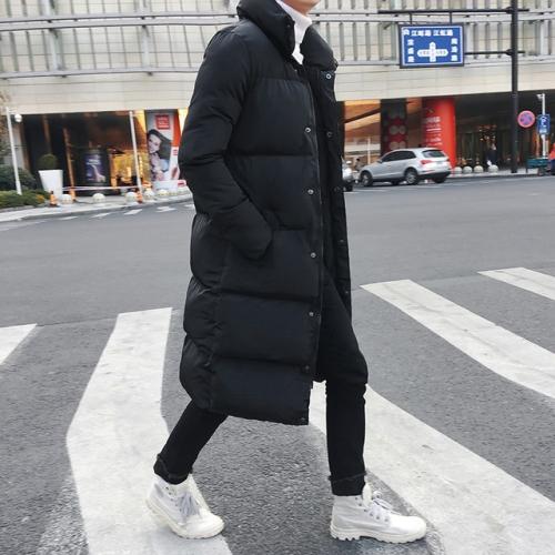 Mens Long Down Jacket Coat Winter Parkas Thick Warm Slim Fit Male Overcoat, Size:XXL(Black)