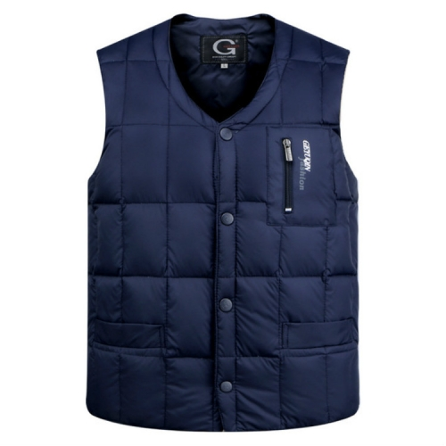 White Duck Down Jacket Vest Men Middle-aged Autumn Winter Warm Sleeveless Coat, Size:XXXL(Blue)