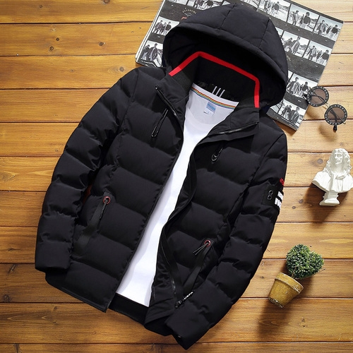 Winter Men Solid Color Short Jacket Slim Warm Hooded Cotton Clothing Casual Youth Down Jacket, Size:XXXXL(Black)