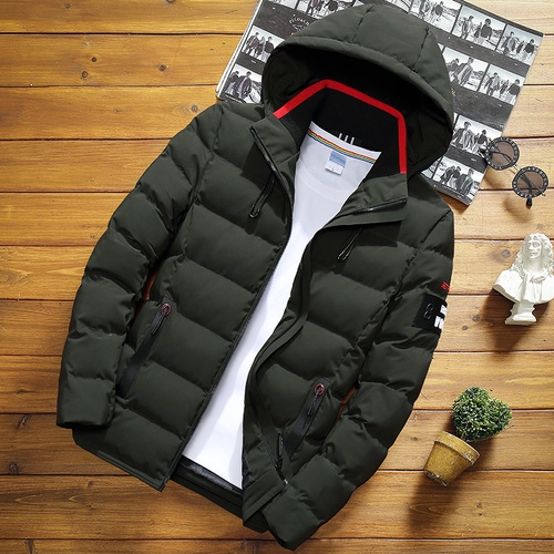 Winter Men Solid Color Short Jacket Slim Warm Hooded Cotton Clothing Casual Youth Down Jacket, Size:XXXXL(Army Green)
