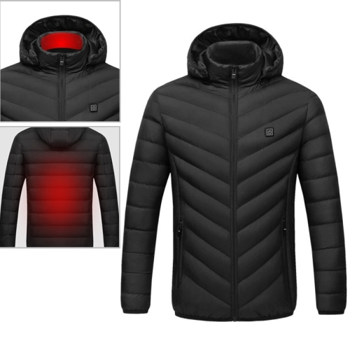 USB Heated Smart Constant Temperature Hooded Warm Coat for Men and Women (Color:Black Size:XXXXL)