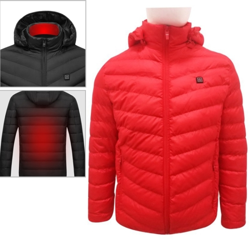 USB Heated Smart Constant Temperature Hooded Warm Coat for Men and Women (Color:Red Size:XXXXL)
