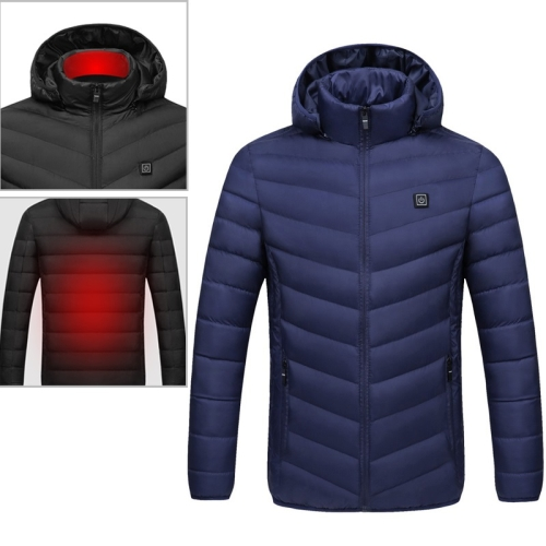 USB Heated Smart Constant Temperature Hooded Warm Coat for Men and Women (Color:Dark Blue Size:L)