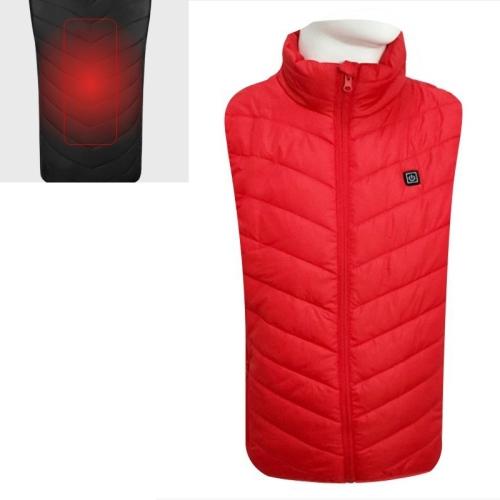 USB Security Smart Constant Temperature Fever Men Stand Collar Cotton Vest (Color:Red Size:M)