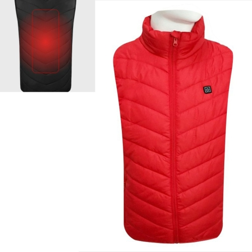 USB Security Smart Constant Temperature Fever Men Stand Collar Cotton Vest (Color:Red Size:L)