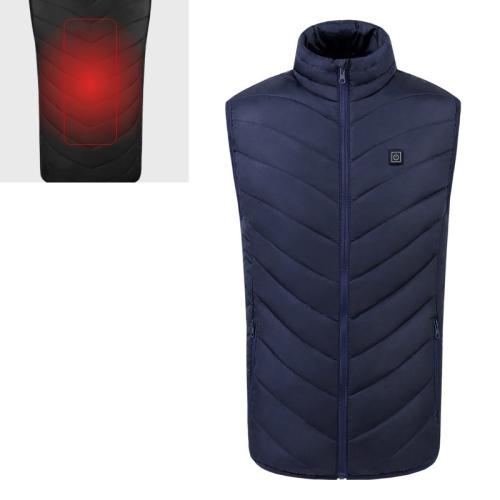USB Security Smart Constant Temperature Fever Men Stand Collar Cotton Vest (Color:Blue Size:L)