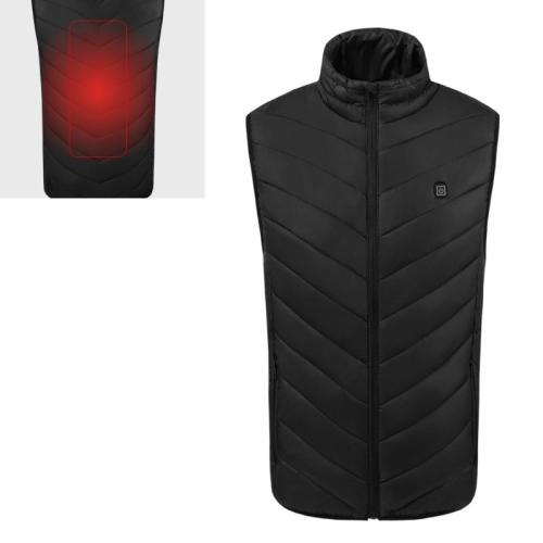 USB Security Smart Constant Temperature Fever Men Stand Collar Cotton Vest (Color:Black Size:S)