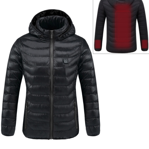 Smart Constant Temperature USB Heating Hooded Cotton Warm Clothing (Color:Black Size:S)
