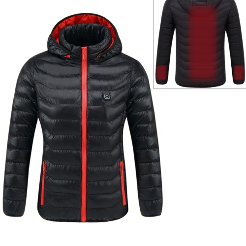 Smart Constant Temperature USB Heating Hooded Cotton Warm Clothing (Color:Black Red Size:L)