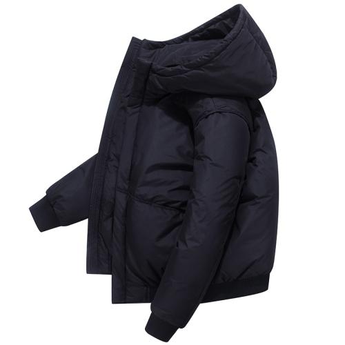 Men Short Padded Jacket White Duck Down Down Jacket (Color:Black Size:L)