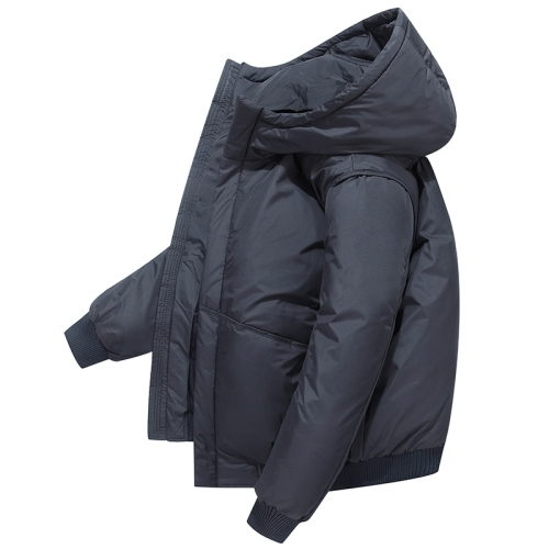 Men Short Padded Jacket White Duck Down Down Jacket (Color:Gray Size:M)