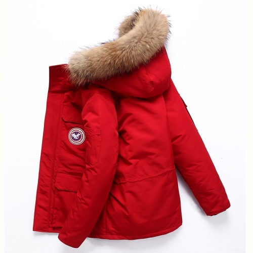 Men Goose Short Padded Workwear Down Jacket (Color:Red Size:XXL)