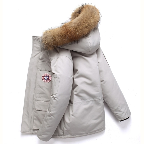 Men Goose Short Padded Workwear Down Jacket (Color:Creamy White Size:XL)