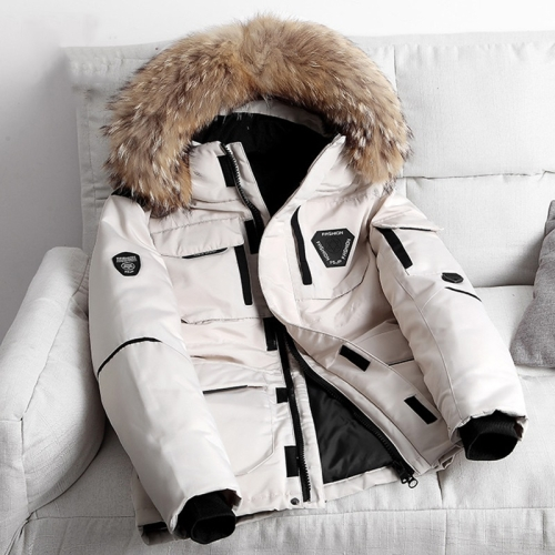 Winter Waterproof Down Jacket Plus Velvet Padded Jacket for Men, with Detachable Hat (Color:Beige Size:L)