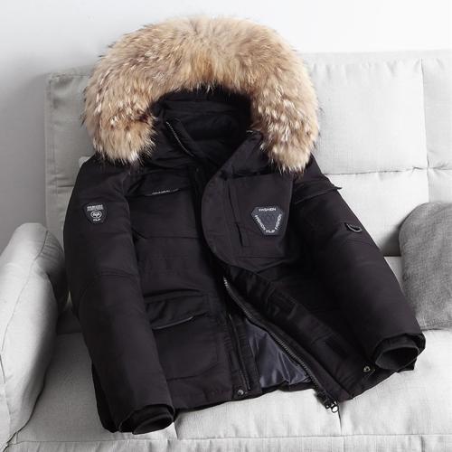 Winter Waterproof Down Jacket Plus Velvet Padded Jacket for Men, with Detachable Hat (Color:Black Size:L)