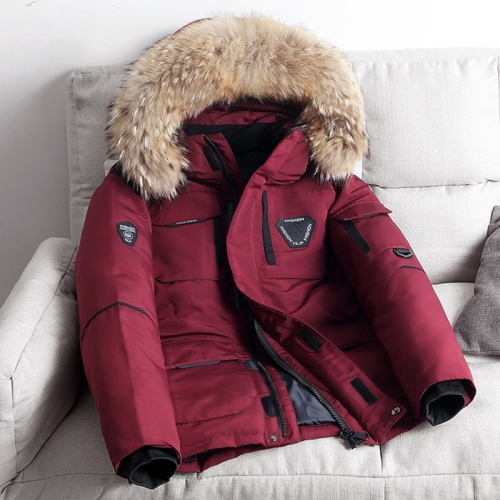 Winter Waterproof Down Jacket Plus Velvet Padded Jacket for Men, with Detachable Hat (Color:Wine Red Size:M)